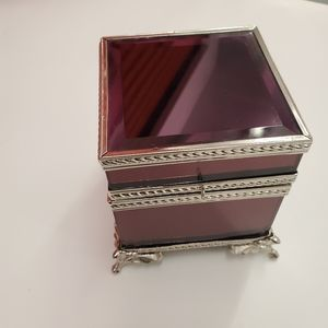 Velvet lined jewelry glass chest box